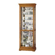 Howard Miller Chesterfield II 8-Shelf Display Curio Cabinet, Golden Oak
