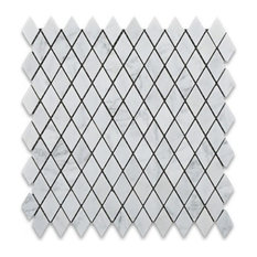 1x1 Carrara White Diamond Rhomboid Marble Mosaic Tile, 5 Sq. ft.