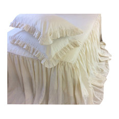 Cream Linen Bedspread, Ruffle Bed Cover, King, Bedspread Only