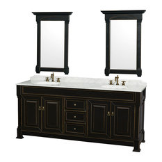 "Wyndham Collection 80"" andover Black Double Round Sink Vanity and 24"" Mirrors"