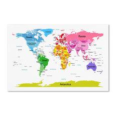 Trademark Fine Art - 'World Map for Kids II' Canvas Art by Michael Tompsett - Kids Wall Decor
