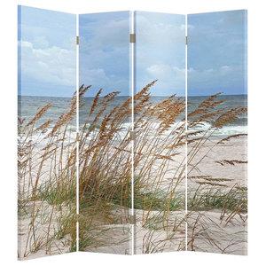 Modern Folding Room Divider With MDF Frame, Grass and Beach Design