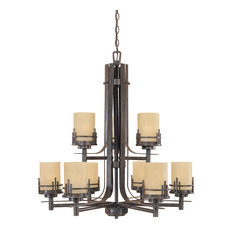 9-Light Chandelier, Warm Mahogany, Navajo Dust Glass