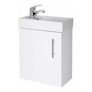 Modern Wall Mounted Vanity Unit and White Ceramic Basin Sink With Tap and Waste