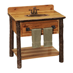 Hickory Log Freestanding Open Vanity With Shelf, Without Top, Natural Hickory