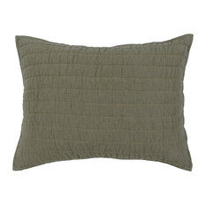 Lucy 100% Linen Quilted Standard Sham , Olive by Kosas Home