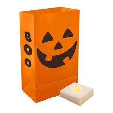 Battery Operated Luminaria Kit With Timer, Orange Jack O' Lantern, 12-Piece Set