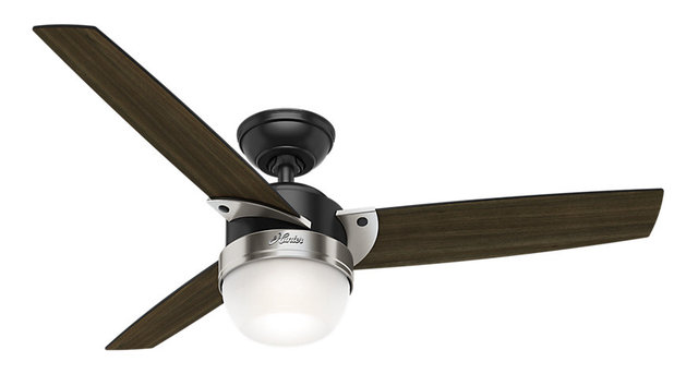 hunter 48 flare matte black ceiling fan with light and remote