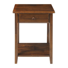 Night Owl Night Stand With 4 Usb Ports, Warm Brown