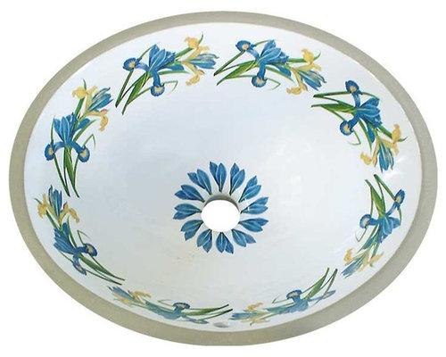 Blue Yellow Iris Flowers Hand Painted Sink Bathroom Sinks