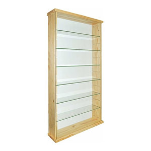 Modern Wall Display Cabinet, Solid Pine Wood With 6 Tempered Glass Shelves