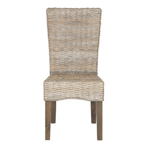 Safavieh Ozias Wicker Dining Chairs, Set of 2, White Washed