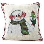 DaDa Bedding Collection - Magical Snowman Throw Pillow Cover Tapestry Cushion Cases 18 x 18, 2 Pcs - Have fun decorating with our super cute one of a kind holiday white snowman DaDa Bedding throw pillow cover.