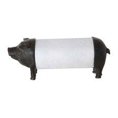 Creative Co-Op - Pig Metal Paper Towel Holder Black - Paper Towel Holders  sc 1 st  Houzz : black paper towel holder under cabinet - Cheerinfomania.Com