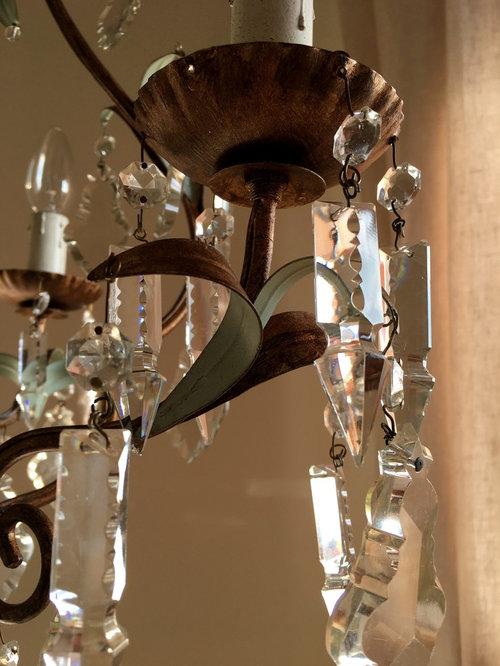 Restyling lampadario anni 40 per camera da letto oro-verde