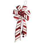 "Xinan Artware Co,. LTD - Christmas Holiday Red Metal Bow With Bell - Christmas Holiday 26"" H Red Metal Bow with bell,Handy Painted, Perfect decorative item for Christmas and the holiday season 12""Lx26""Hx4""W"