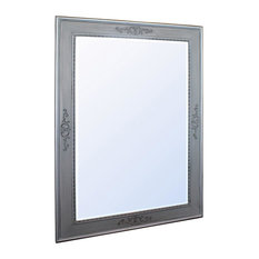 Ellesmere Rectangular Wall Mirror With Floral Silver Frame, 80x110 cm