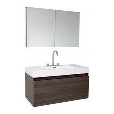 Fresca Mezzo Gray Oak Modern Bathroom Vanity With Medicine Cabinet