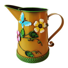 Country Chic Metal Watering Can, Dark Golden Brown With Butterfly