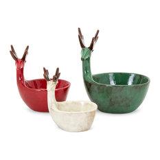 Imax Ceramic 3-Piece Set Holiday Decor, Brown Finish