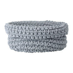COBO Knitted Cotton Basket, Micro Chip Gray