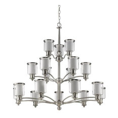Giuliana 18-Light 3-Tier Chandelier, Satin Nickel Clear/White Opal Glass