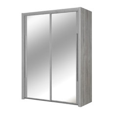 Gami - Cyrus Mirrored Sliding Door Wardrobe, Light Grey Oak - Wardrobes and Armoires