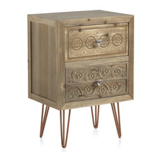 Textured Wooden Bedside Table