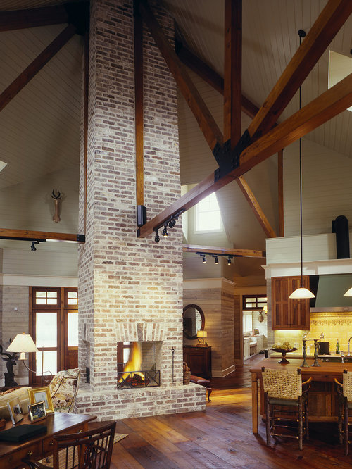 Four sided fireplace houzz for Open sided fireplace