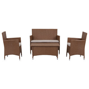 Safavieh Mendoza Outdoor Dining Set, 4-Piece, Toasted Almond and Sand