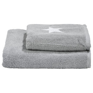 Stars Towel Collection, Silver and White, Set of 2