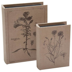 Set of 2 Book Storage Boxes, Natural and Black