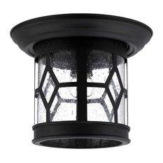 "Canarm IOL207 Atlanta 1 Light 10""W Outdoor Flush Mount Lantern - Black"