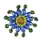 Medallion Style Beaded Napkin Rings, Set of 2, Mediterranean Blue