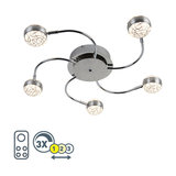 Modern Ceiling Lamp 5 Chrome with Remote Control incl. LED - Portos