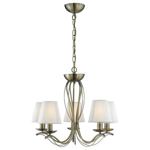 Andretti 5-Arm Chandelier With String Shades, Antique Brass
