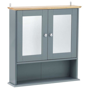 Modern Storage Cabinet Unit, Wood With Mirrored Doors and Bottom Open Shelf