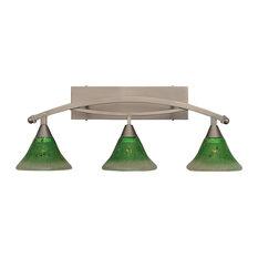 "Bow 3 Light Bath Bar, 7"" Kiwi Green Crystal Glass"