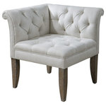 """Uttermost - Uttermost 23125  Tahtesa Corner Chair - Classic, chesterfield tufting and pleated roll arms in a bright ecru, textural linen blend, set in confident style on robust yet shapely tapered legs. showing both fine wood grain and layers of hand finishing and distressing, this chair embodies timeworn, ageless elegance. seat height is 19.5""""."""
