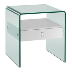 Bari High Gloss White Lacquer Nightstand/End Table