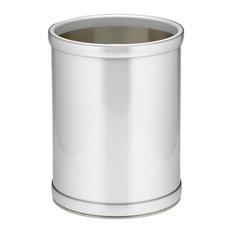 Kraftware Mylar Brushed Chrome Round Wastebasket