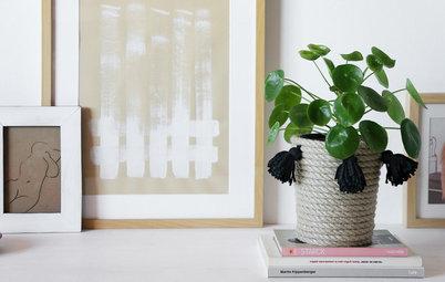 Hazlo tú mismo: Una cesta con borlas hecha con cuerda