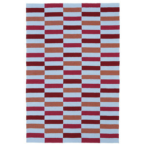 "Contemporary Blue/Red Rug, 7' 6""x9' Matira MAT03-08"