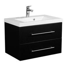 Emotion Infinity 700 Bathroom Furniture, White High-Gloss, 70.4 cm, Black Semi-G