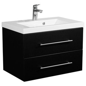 Emotion Infinity 700 Bathroom Furniture, White High-Gloss, 70.4 cm, Black Semi-G