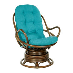Kauai Rattan Swivel Rocker Chair, Blue Fabric and Brown Rattan Frame