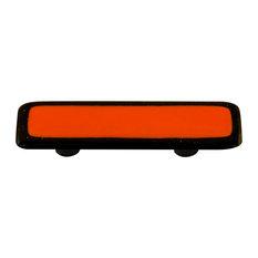 Art Glass Rectangle Bordered Pull, Black Post, Black Border Opal Orange