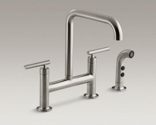 """Purist(R) two-hole deck-mount bridge bridge kitchen sink faucet with 8-3/8"""" spou - Kitchen Faucets"""