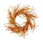 "22"" Fall Grass and Flower Wreath"