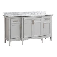 "Cahaba Ellis 60""x22""  Dual Vanity, Dove Gray, Carrara Marble Top, Ceramic Basin"